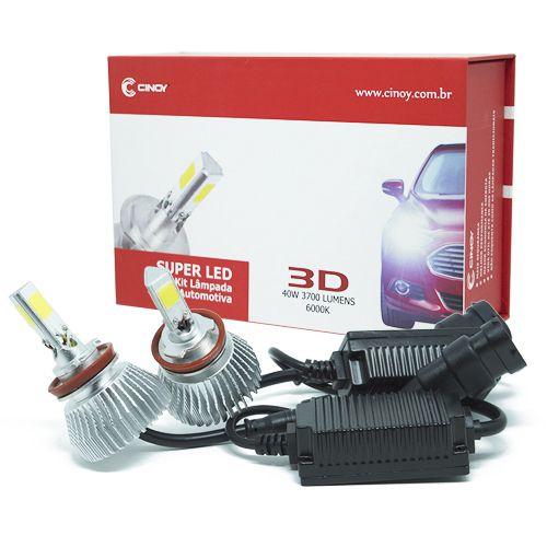 Kit Lâmpada Super LED 3D Headlight H27 40W 6000K 3700LM