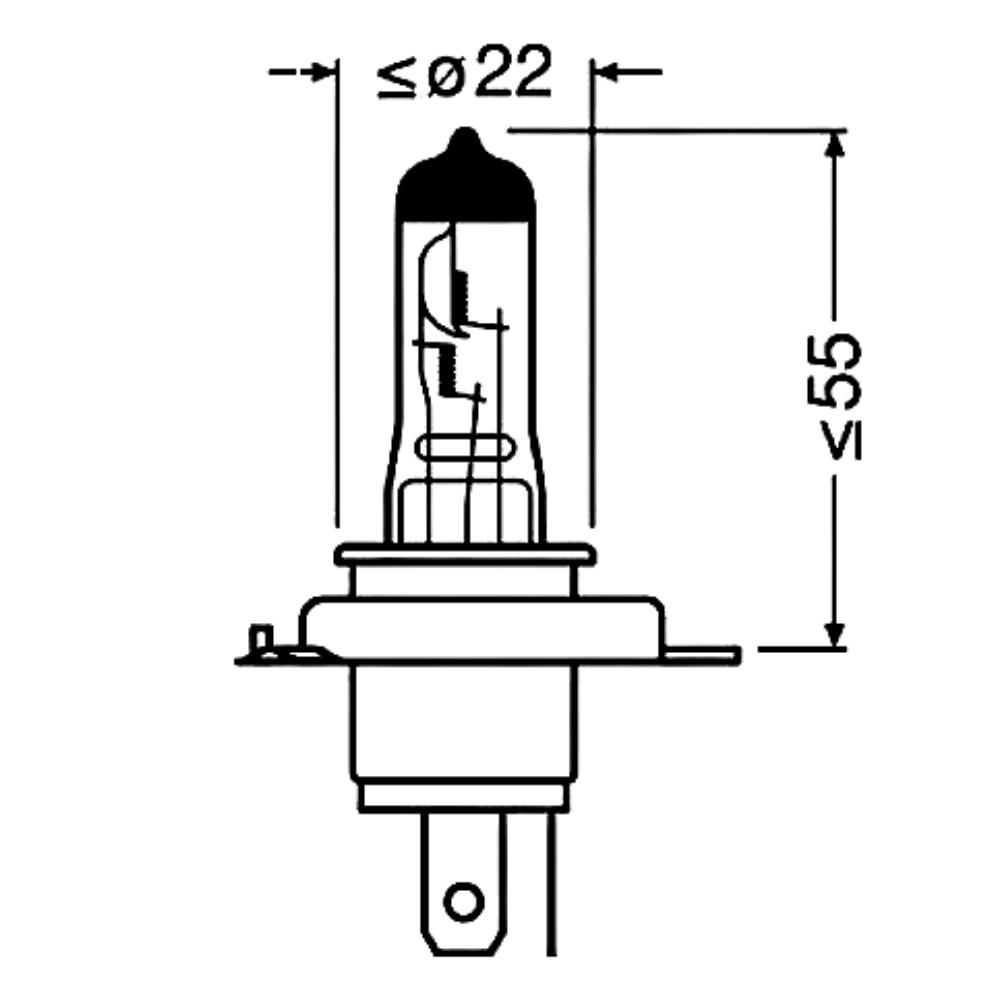 Lâmpada Halógena H4 60 55w 64193CLC 12v Bilux Osram Classic