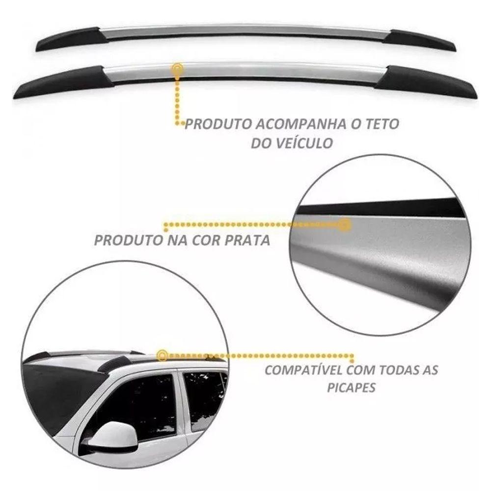 Rack Teto Longarina Decor. Onix 2013 Acima Prata 160Cm