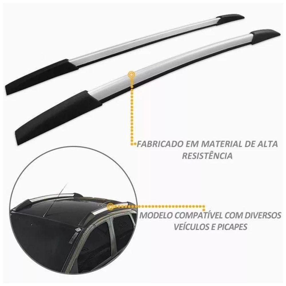 Rack Teto Longarina Decor. Palio Mk2 - Fase 1 2011 2018 Prata 160Cm