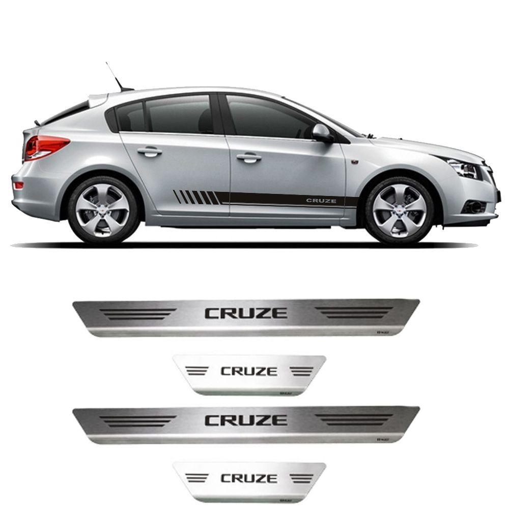 Soleira Cruze Hatch/ Sedan Aço Inox Escovado