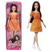 Boneca Barbie Fashionista 160 vestido laranja mattel