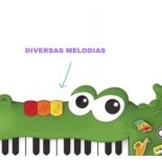 Brinquedo Infantil Piano Musical Jacaré Teclado Colorido