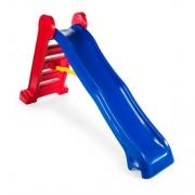 Escorregador grande 4 degraus rampa azul e escada vermelha
