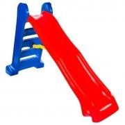 Escorregador grande 4 degraus rampa vermelha e escada azul escuro