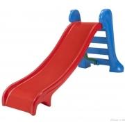 Escorregador Infantil Médio com 3 degraus Rampa Vermelha e Escada Azul Claro