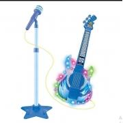 Guitarra Infantil C Microfone Pedestal Toca Mp3 Luz Som Azul