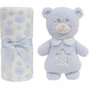 Manta e Pelúcia Gift Ursinho Azul 10694 Buba