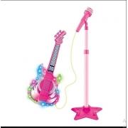 Novo Microfone Com Pedestal E Guitarra Infantil Rock Show