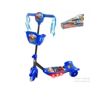 Patinete corrida divertida com 3 rodas e cestinha som e luz Dm Brasil DMR5026