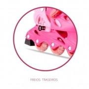 Patins Infantil Rosa 30-34 Ajustável 04 Rodas + Kit Proteção