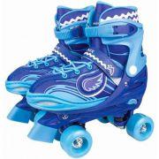 Patins Roller Skate ajustáveis Azul Com Luz (30-41) Fenix