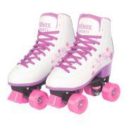 Patins Roller Skate ajustáveis Branco (31-42) Fênix