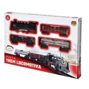 Pista Trem Locomotiva com Luz e Som Dm Toys DMT5374