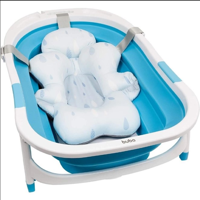 Almofada pra Banho Azul com Fivela Ajustável Buba