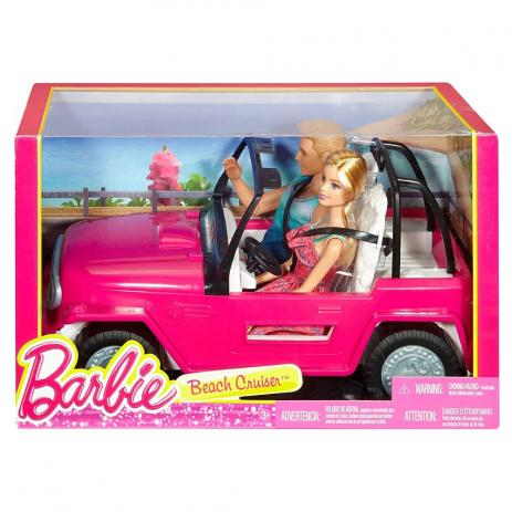 Barbie e Ken no Veículo de Praia Mattel CJD12