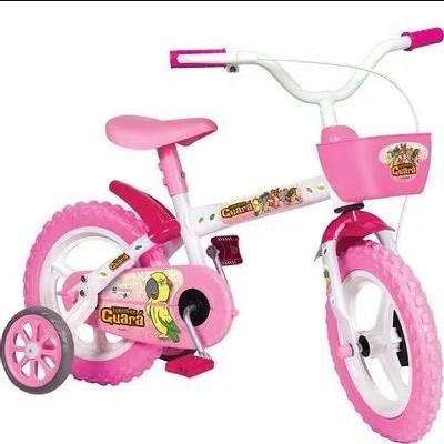 Bicicleta Aro 12 Feminina Turminha Guara com Rodinha Rosa