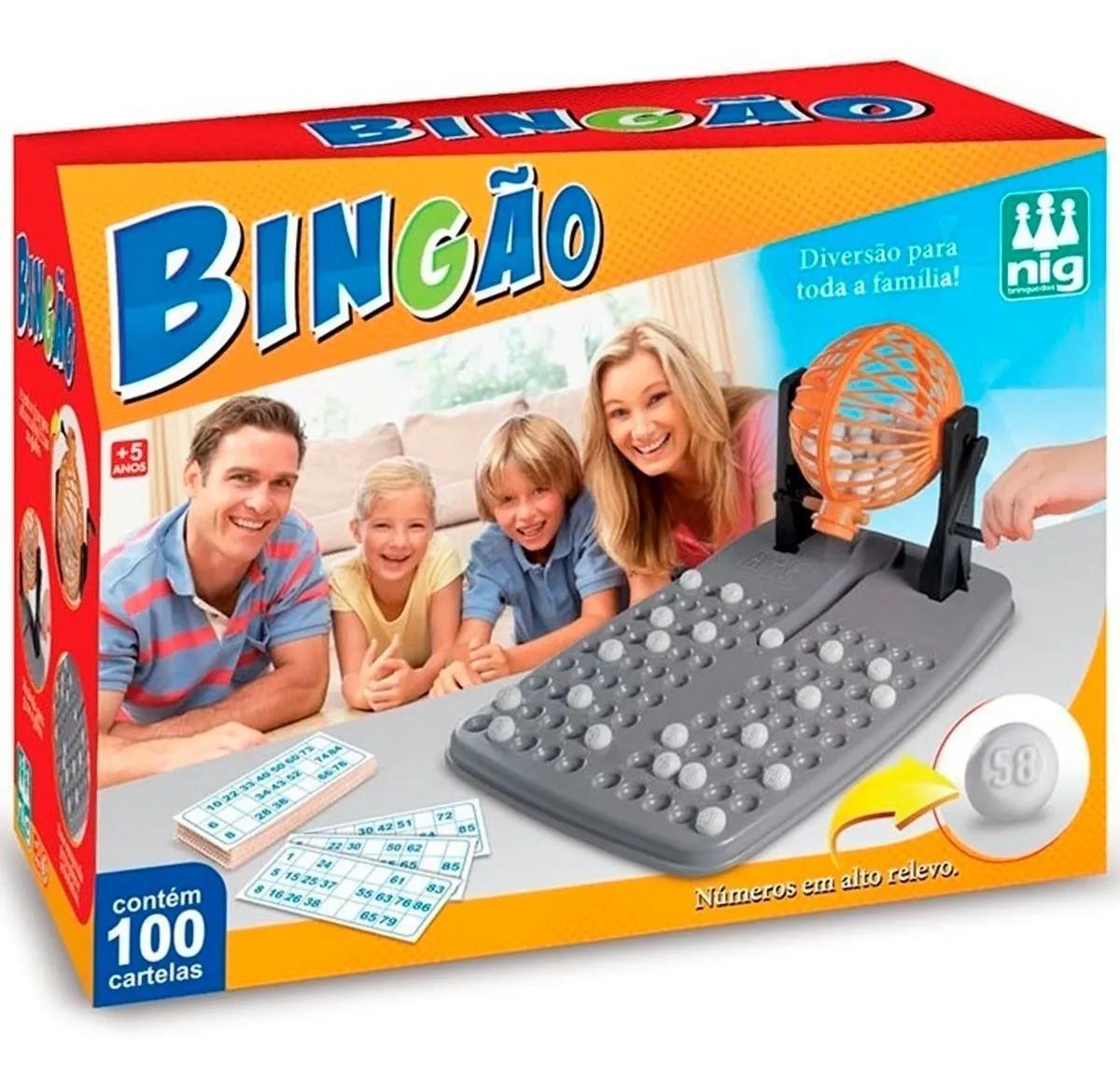Bingo Bingão Jogo C/ 100 Cartelas E Globo Giratório Nig