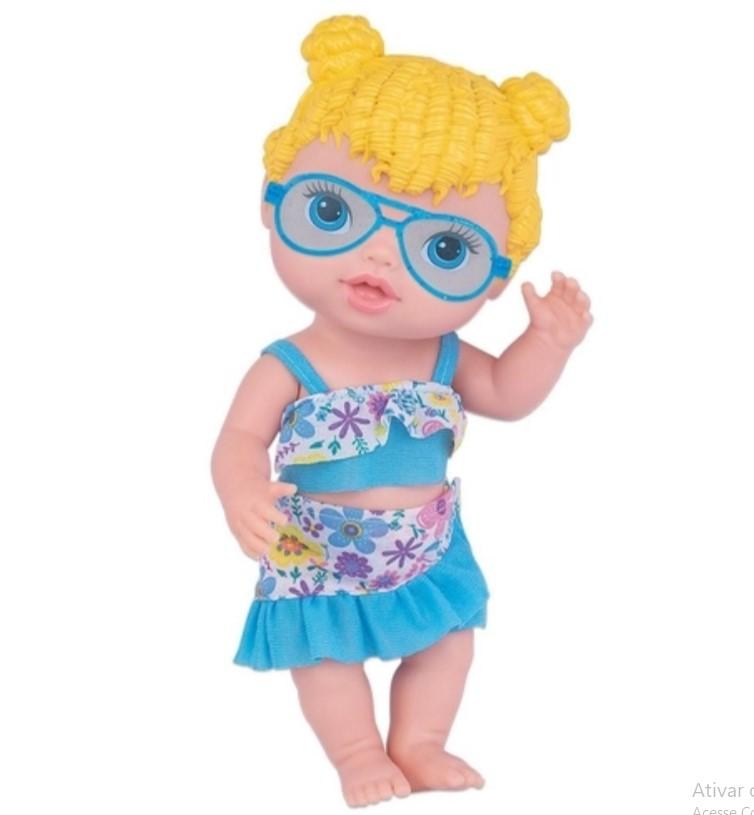 Boneca Baby Collection Praia Loira Com Acessórios Super Toys 414
