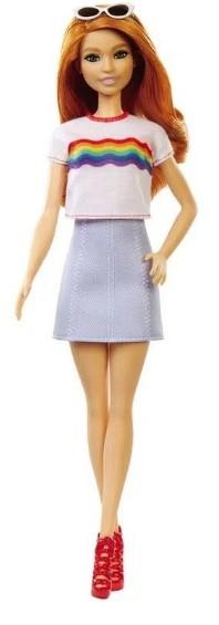 Boneca Barbie Fashionista Ruiva Com Camisa De Arco Íris 122 Mattel Fxl55