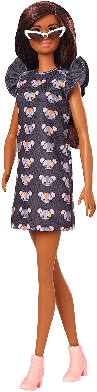 Boneca Barbie Fashionistas - 140 Cabelo Longo Morena Vestido estampado Rato