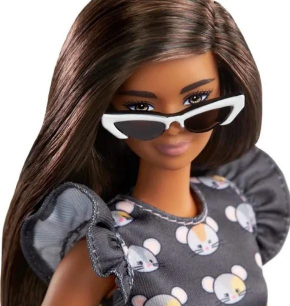 Boneca Barbie Fashionistas 140 Cabelo Longo Morena Vestido estampado Rato