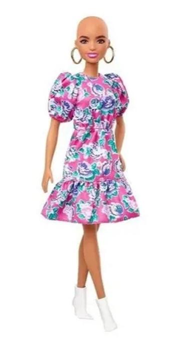 Boneca Barbie Fashionistas - 150 Sem Cabelos Vestido Floral Rosa