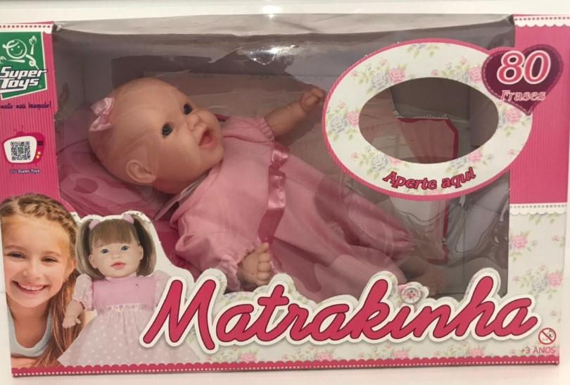 Boneca Bebê Matrakinha  sortidos Fala 80 sem cabelo Frases 237 Super Toys