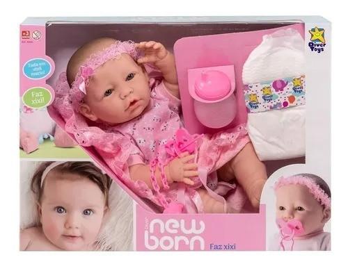 Boneca Bebê Newborn Faz Xixi Diver Toys