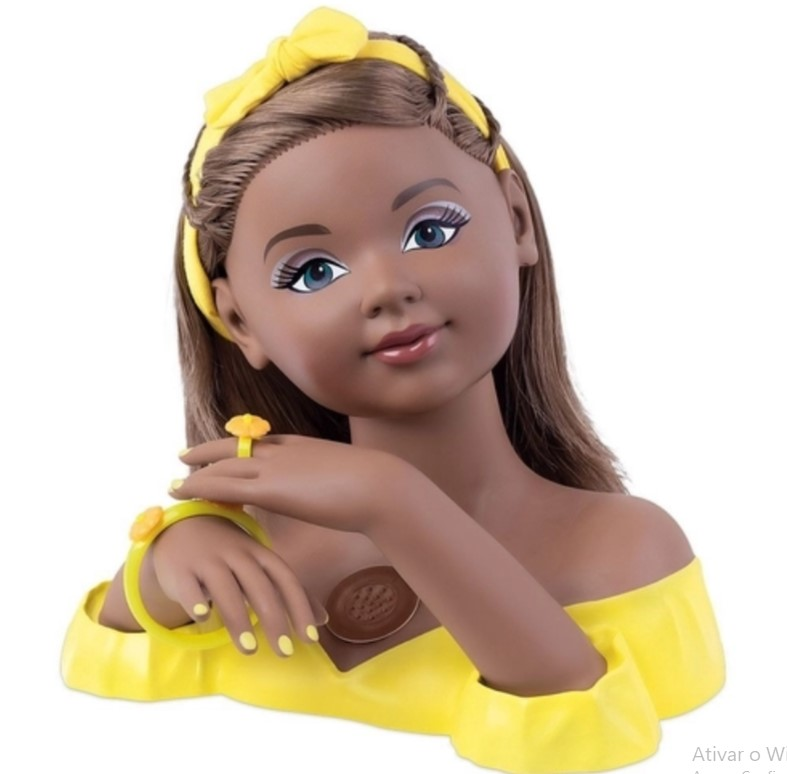 Boneca Charmosa Negra Busto Cabeleireira Cotiplás 2423