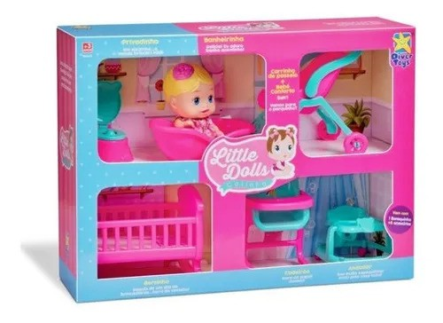 Boneca Little Dolls Kit Casinha Completo Diver Toys