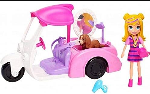 Boneca Polly Pocket Veiculo Banho E Cachorrinho Mattel Gdm09