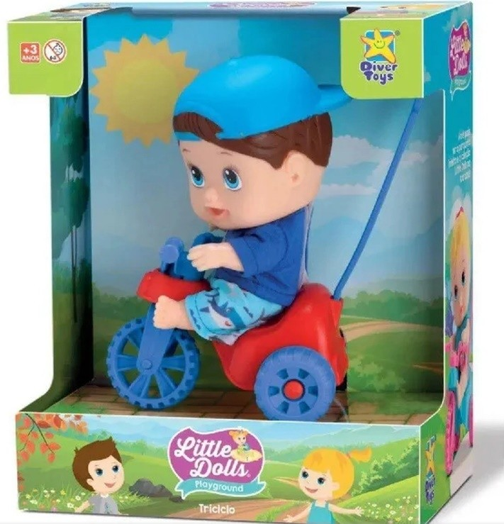 Boneco Little DOLLS Playground Menino com Triciclo Divertoys