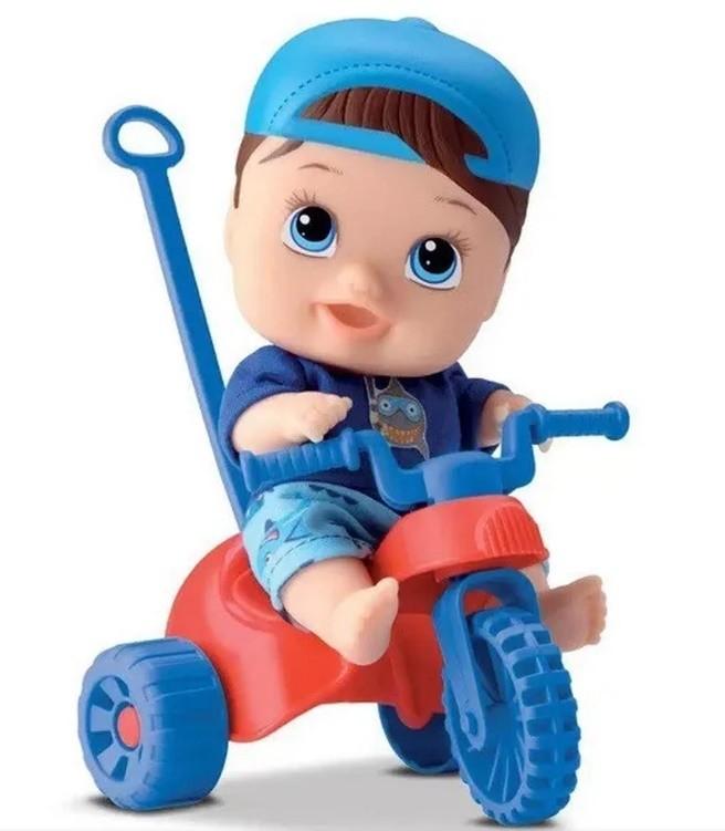 Boneco Little DOLLS Playground Menino com Triciclo Divertoys