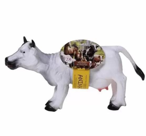 Boneco Vaca de Vinil Branca Animais da Fazenda