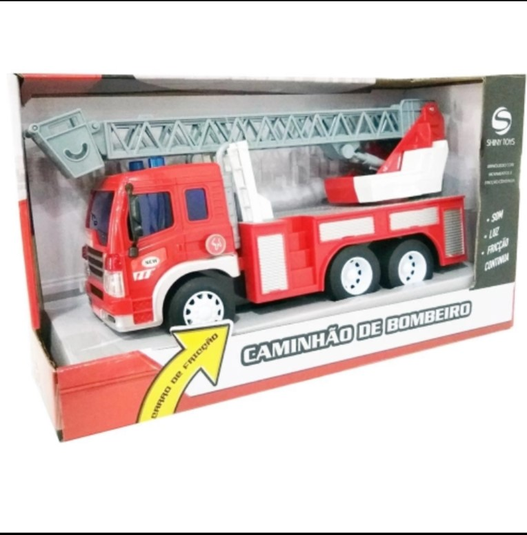 Caminhão Bombeiro com luz e Som Shiny Toys 435