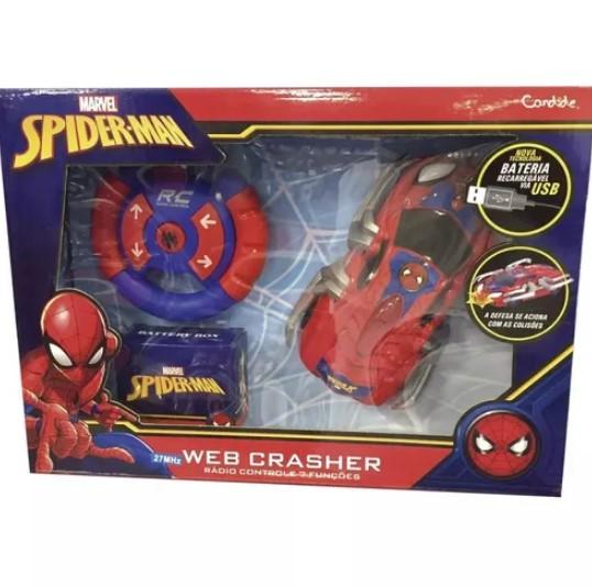 Carrinho Controle Remoto Homem Aranha Web Crasher Candide 5842