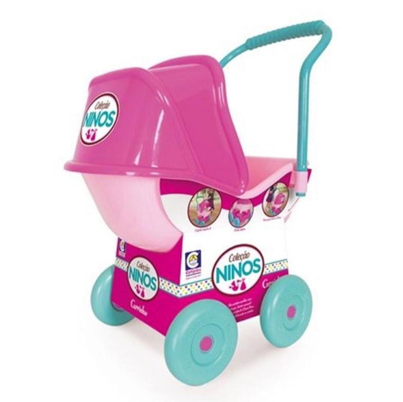 Carrinho de Boneca Ninos Baby Rosa e Verde - Cotiplás 2215
