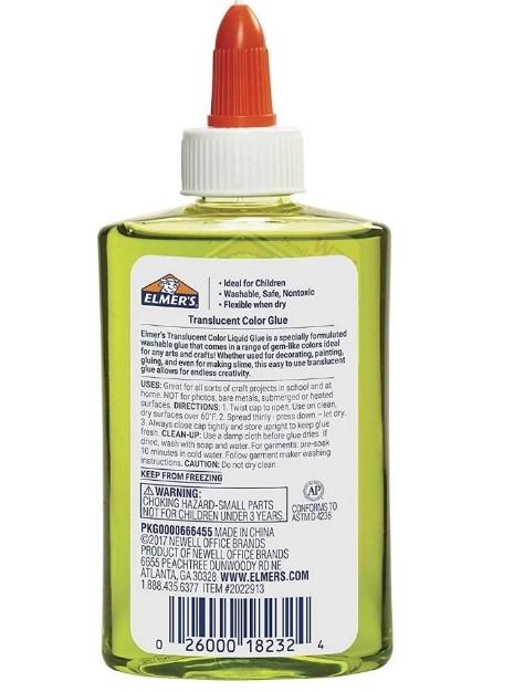 Cola Colorida 147 mL de Slime Verde Translucido Elmers