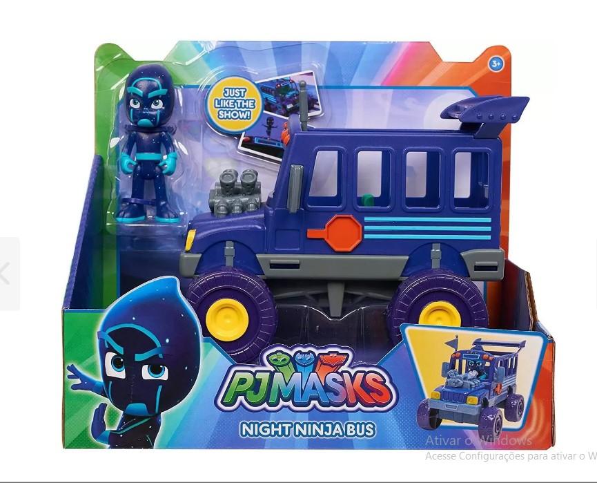 Conjunto de Veículo e Figura PJ Masks Ônibus do ninja noturno  Multikids