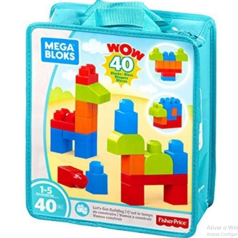 Conjunto Para Construção Mega Bloks Sacola Com 40 Peça Mattel FKL01
