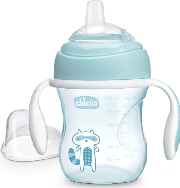 Copo Infantil Azul com Bico de Reposição silicone 200ml Chicco