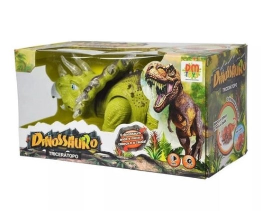 Dinossauro Triceratopo Verde Dm Toys DMT4724