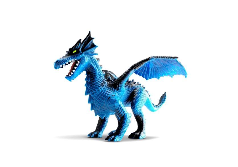 Dragon Island azul Com Pescoço, Asas E Patas Flexíveis Silmar 1580