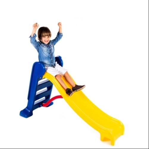 Escorregador médio com 3 degraus Rampa Amarela com Escada azul claro
