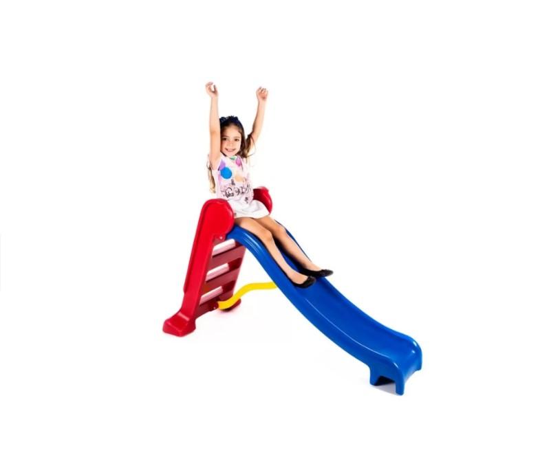 Escorregador Médio Divertido com 3 Degraus Escada Vermelha E Rampa Azul