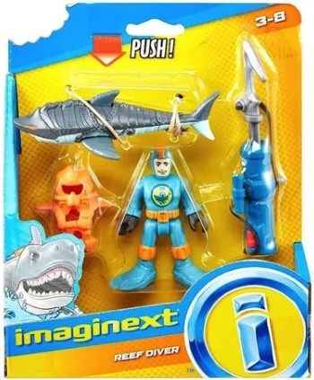 Figura Básica Imaginext Mergulhador Coral E Tubarão GKG82