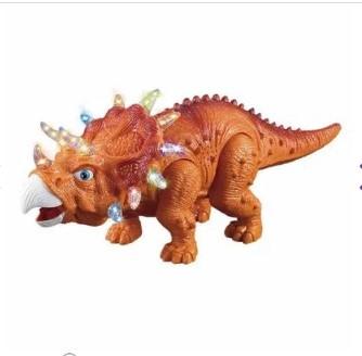Figura Eletrônica Dinossauro Tricerátopo Laranja DM Toys