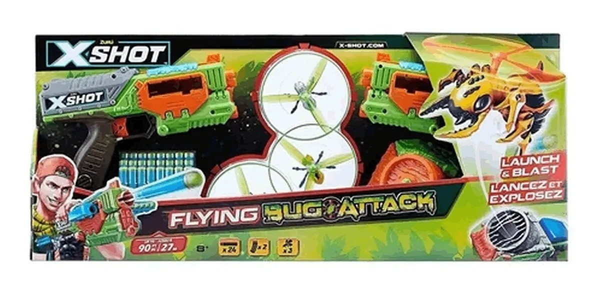 Lançador De Dardos X-shot Lance E Dispare Flying Bug Attack - Candide