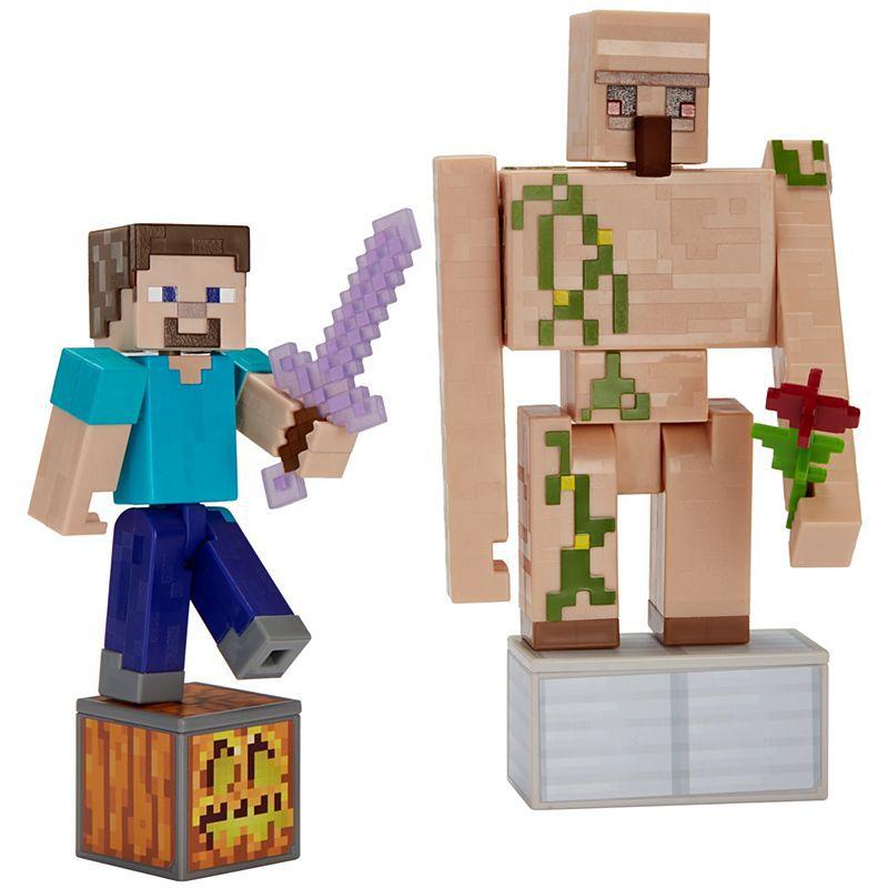 Minecraft Pack Steve e Golem de Ferro- Mattel -GCP33
